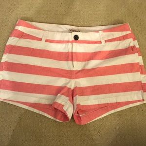 Coral and white striped shorts